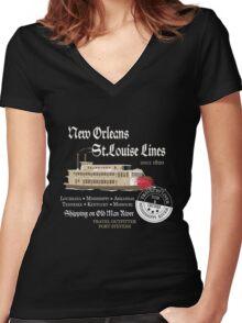 Mississippi River Line Women's Fitted V-Neck T-Shirt