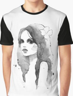 Romantic girl. Watercolor painting. Black and white Graphic T-Shirt