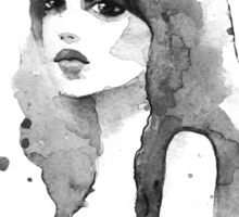 Romantic girl. Watercolor painting. Black and white Sticker