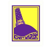 The wizard, vector drawing in yellow and purple Art Print