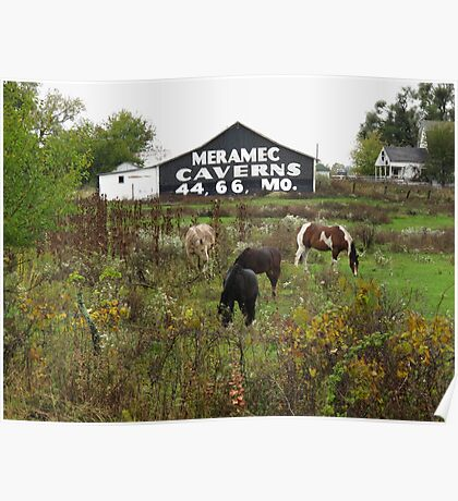 Route 66 - Horses and Barn Poster