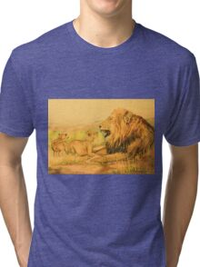 Lion and Cubs Oil Pastel Drawing Tri-blend T-Shirt