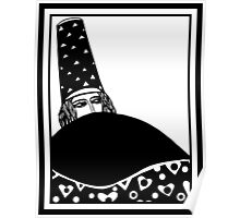 The wizard, vector drawing in black and white Poster