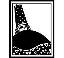 The wizard, vector drawing in black and white Photographic Print
