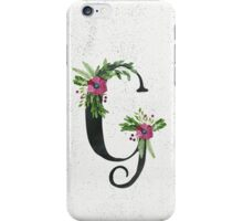 Monogram G with Floral Wreaths iPhone Case/Skin