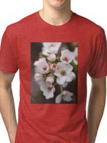 White and Pink Flowers Tri-blend T-Shirt