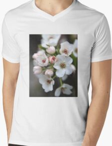 White and Pink Flowers Mens V-Neck T-Shirt
