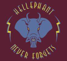 Hellephant - Impale Blue on Dark Red by Koobooki
