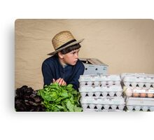 Selling Eggs at Farmer's Market Metal Print