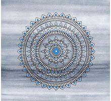 Hand Drawn Blue And Grey Mandala Flower Photographic Print