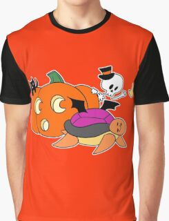 Pumpkin Skeleton Turtle Graphic T-Shirt