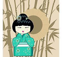 Brown umbrella kokeshi Photographic Print