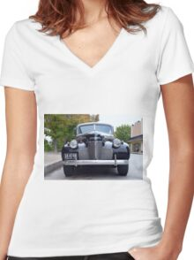 1940 Chevrolet Special Deluxe Two Door Town Sedan Front View Women's Fitted V-Neck T-Shirt