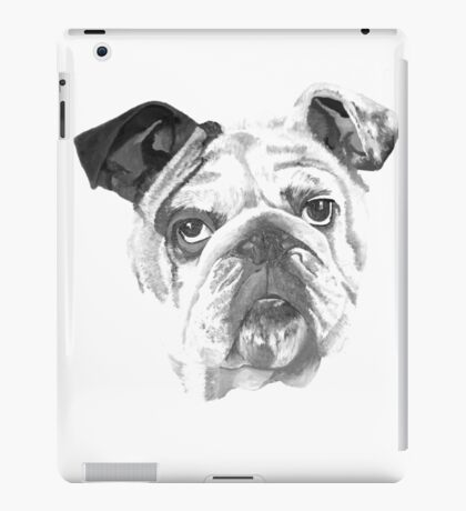 Portrait Of An American Bulldog In Black and White  iPad Case/Skin