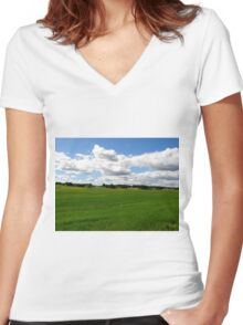 Under the clouds... Women's Fitted V-Neck T-Shirt
