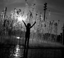 Child in Fountain by Michael  Herrfurth