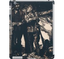 Soldier giving direction to a family amid chaos and destruction of war 890 iPad Case/Skin