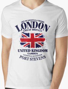 London - United Kingdom - Union Jack Flag Mens V-Neck T-Shirt