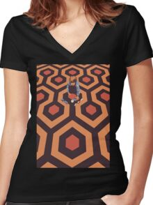The Shining Screen Print Movie Poster  Women's Fitted V-Neck T-Shirt