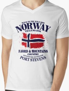 Norway Flag - Vintage Look Mens V-Neck T-Shirt