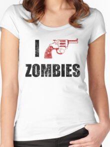 I Shotgun Zombies/ I Heart Zombies  Women's Fitted Scoop T-Shirt