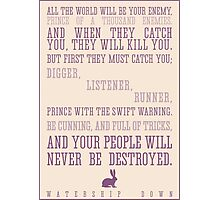 Watership Down / Richard Adams Quote Photographic Print