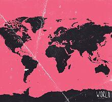 World map pink by Pranatheory