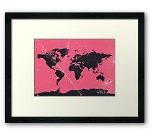 World map pink Framed Print