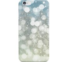 Blue and White Holiday Winter Sparkly Bokeh iPhone Case/Skin