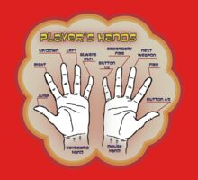 The player's hands. Baby Tee