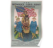 The Womans Land Army of America Training school University of Virginia Apply Womans Land Army US Employment Service Richmond Va Poster