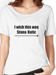 'I wish this was Stana Katic →' BLACK Women's Relaxed Fit T-Shirt
