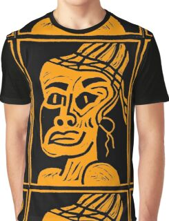 African Linocut Orange Graphic T-Shirt