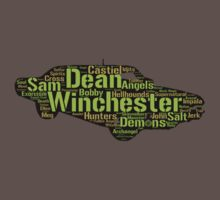 Dean's Impala: Words in shape (Supernatural) by Vendetta17