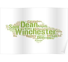 Dean's Impala: Words in shape (Supernatural) Poster
