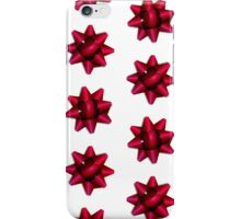 Festive Red Holiday Gift Bow Pattern iPhone Case/Skin