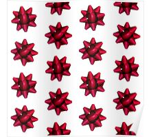 Festive Red Holiday Gift Bow Pattern Poster