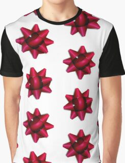 Festive Red Holiday Gift Bow Pattern Graphic T-Shirt
