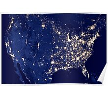 City Lights of the United States Poster
