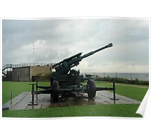 An WW2 anti-aircraft gun at Dover Castle in England Poster