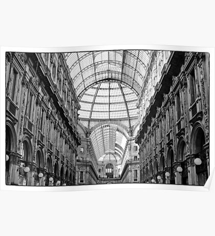 Galleria Vittorio Emanuele II in black and white Poster