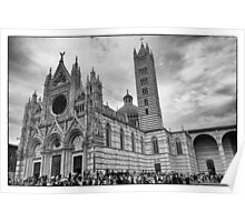 Duomo di Siena in black and white Poster