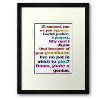 Genius of Oppression Framed Print