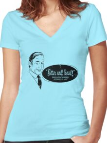 Better call Saul! (Distressed) Women's Fitted V-Neck T-Shirt