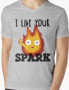 I Like Your Spark Calcifer Mens V-Neck T-Shirt
