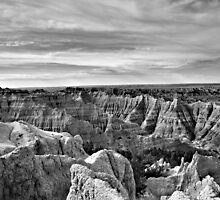 Badlands National Park in Black and White by Scott Hendricks