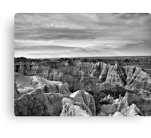 Badlands National Park in Black and White Canvas Print
