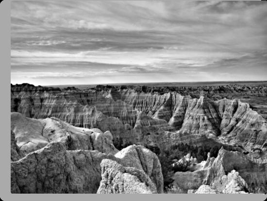 Badlands National Park in Black and White by Scott Hendricks