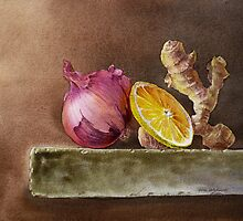 Still Life With Onion, Ginger, and Lemon by Irina Sztukowski