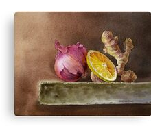 Still Life With Onion, Ginger, and Lemon Canvas Print